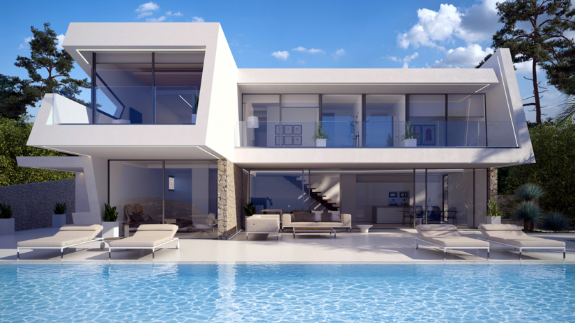 EXCITING ULTRA MODERN SEA VIEW VILLA NEARING COMPLETION IN MORAIRA